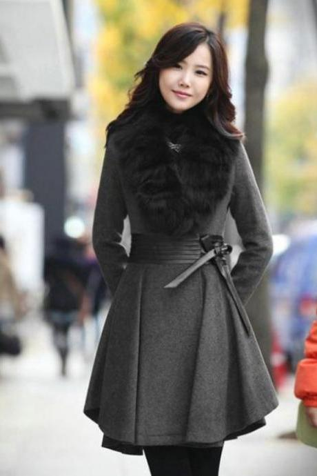 Free Shipping Gray Wool Linen Coat Gray Trench Wool Overcoats Faux Fur Big Collar
