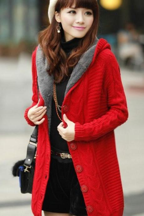RED Cardigan with Super Smooth Faux Fur Lining Red Cotton Sweaters Pullovers