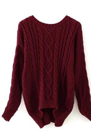 Wine red round neck Cable Knit Sweater #YM091704WP