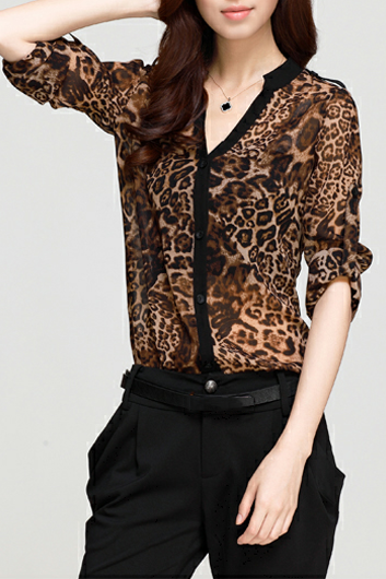 Trendy Leopard V Neck Long Sleeve Shirt For Woman