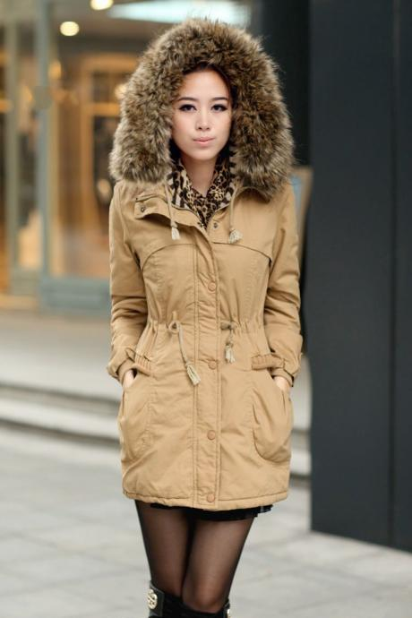 Womens Winter Coats Faux Fur Lining Parka With Fur Hood In Ochre