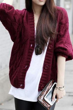 V-neck loose knit sweater jacket #091712AD