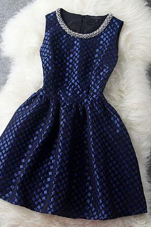 New Vintage Blue Handmade Beading Party Dress &Dress