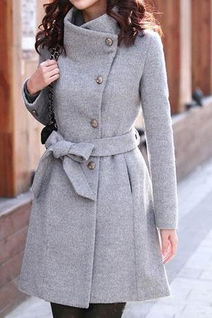 Elegant Grey Winter Button Down Long Coat