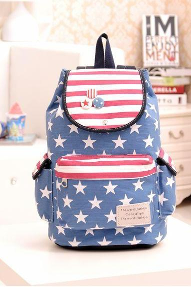 Vintage Style Stars and Stripes Back Pack