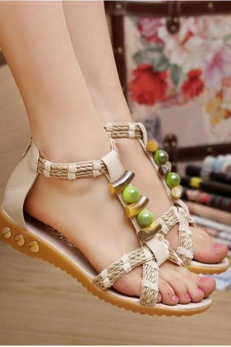 Handmade Colorful Beads Flat Sandals