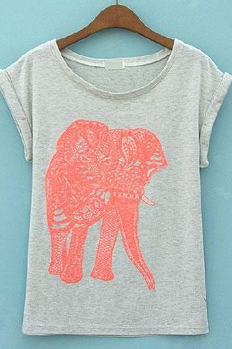 Elephant Graphic Short Sleeve T Shirt Crew Neck Top
