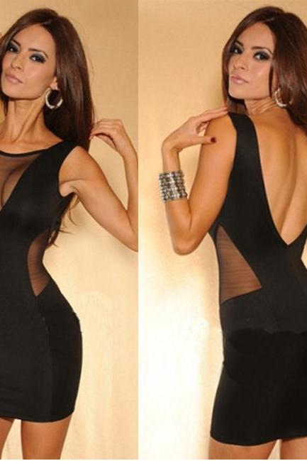 Sexy Open Back Mesh Splicing Sleeveless Black Tight Dress
