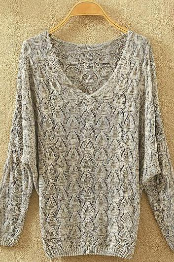 Long-Sleeved Hollow Sweater