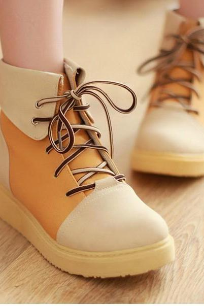Spell Color Flat Boots With Thick Soles Shoes