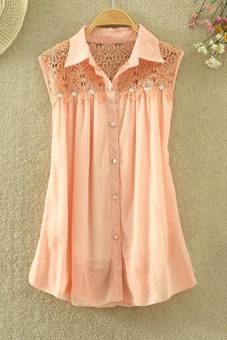 Wave Edge Chiffon Lace Shirt