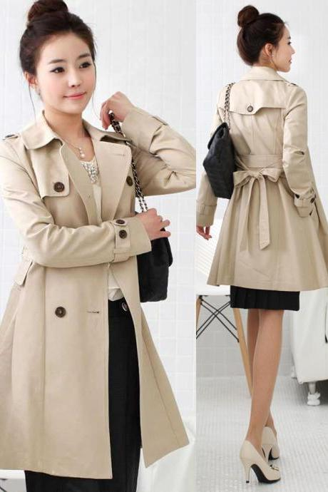 Bowknot Belted Double Breasted Trench Coat