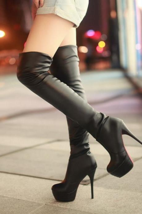 Chic Black Over The Knee Boots