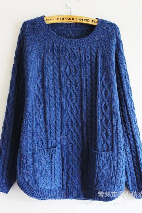 Retro Batwing Sleeve Sweater With Pockets - Blue