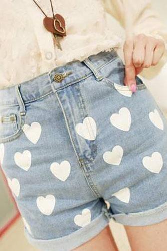 Sweet Love Type Printed Women Jeans Short Pants