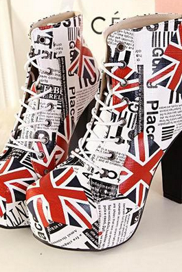 Winter Autumn Sex Women's White Color British Flag Printed Women Ankle Boots thick Heel Squared Toe Lace Up Martin Boots