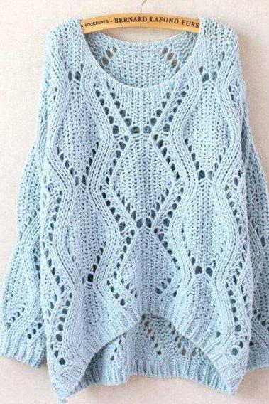 Cool Neck Argyle Hollow Out Sweaters-Light Blue