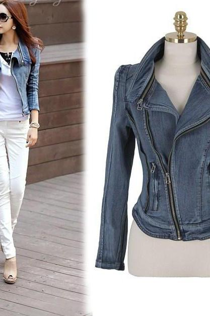 Stylish Slim Fit Zipper Long Sleeved Women's Denim Jacket