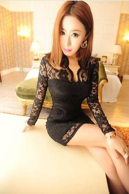 Women's V-neck Low-cut Long Sleeve Party Cocktail Lace Mini Dress