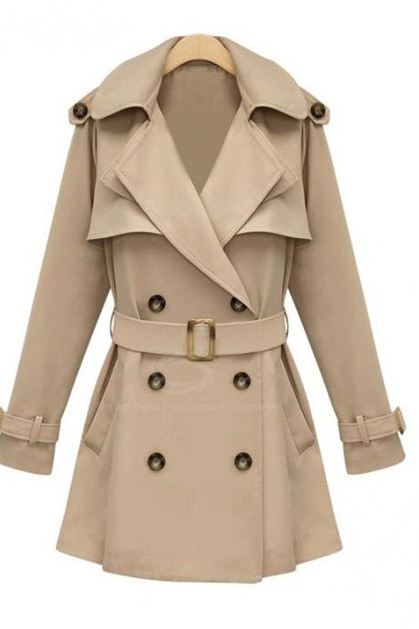 British Style Lapel Long Sleeves Solid Color Womens Coat