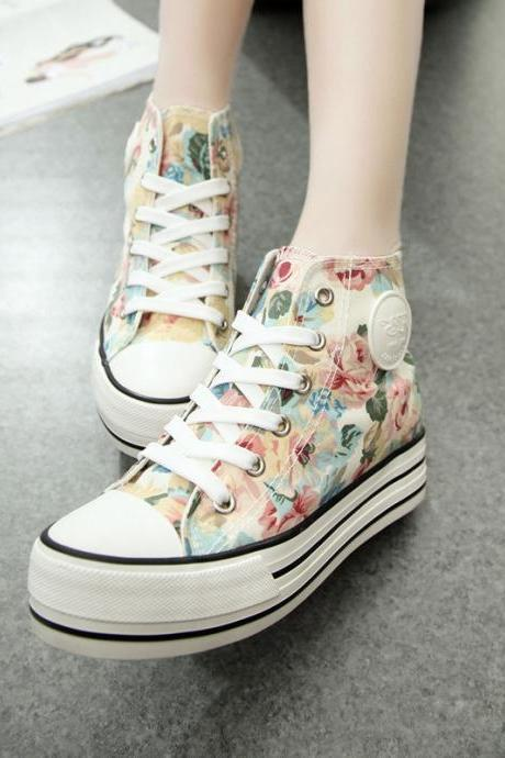 Women's Floral Print High Top Thick Soled Canvas Sneaker 040520