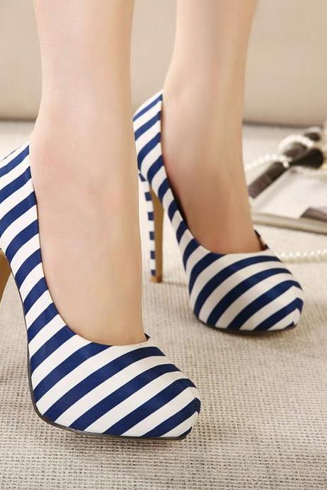Sexy High-Heeled Shoes With Navy Stripes Ultra- Thin High-Heeled Shoes With Waterproof