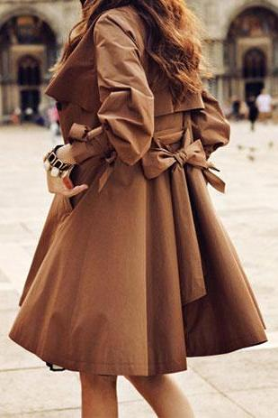 Elegant Ruffle Brown Coat