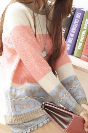 Slim round neck long-sleeved knit sweater jacket #091803AD