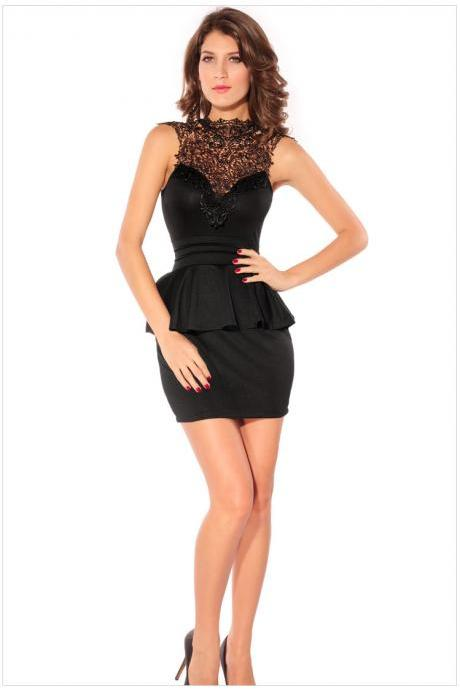 Sheered Hollow Embossing Paned Cut Out Back Sleeveless Peplum