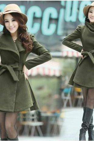 Cultivate morality thickening in long women's clothing woolen cloth coat