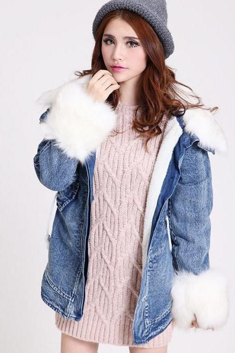 Fall female fur collar Slim wool coat thick denim long sleeve padded jacket