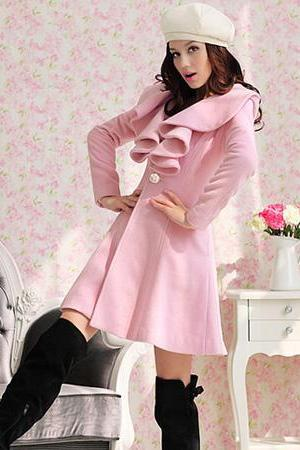 Long Sleeves Ruffles Lapel Beam Waist Long Women's Trench Coat