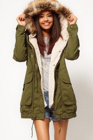 Fur Hooded Long Sleeve Zipper Drawstring Coat