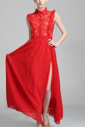 High Quality Gorgeous Sleeveless High Waist Dress for Lady - Red