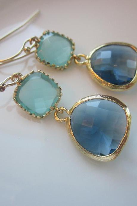 Aqua Blue Earrings Sapphire Gold Plated - Bridesmaid Earrings - Wedding Earrings - Bridal Earrings