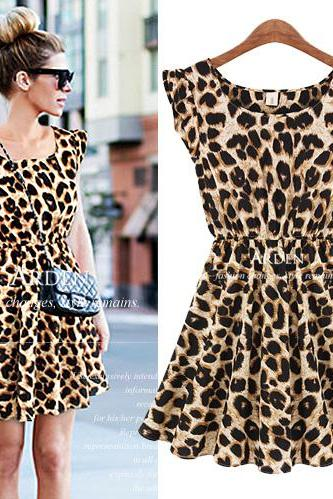 sexy 2014 New Women Casual Dress Leopard Print Milk Silk Microfiber Summer Dress Women Ruffles Dresses