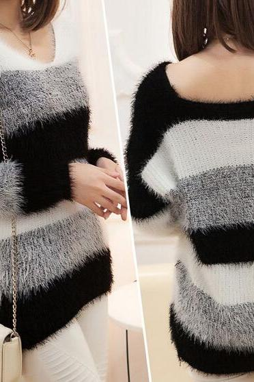 Loose long-sleeved knit sweater AX091806ax