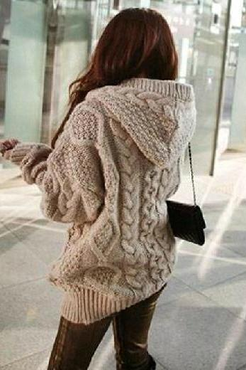 Loose knit cardigan sweater jacket AX091808ax