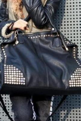 Fashion Diamond Rivets Shoulder Messenger Handbag