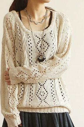 Vintage Round Neck Hollow Out Sleeved Sweater Cardigan