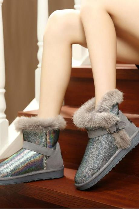 The new rabbit fur boots snow boots women
