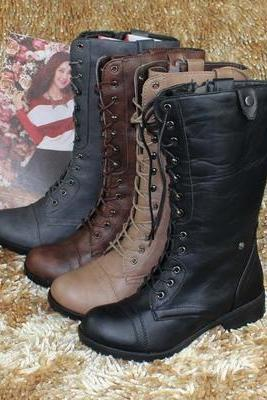 Lace Up Low Heel Round Toe Foldable Military Combat Mid Calf Womens Boot