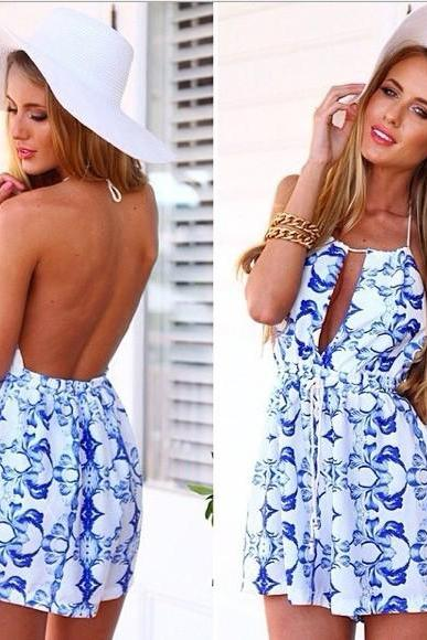 Cheap Sexy Off The Shoulder Sleeveless Backless Blue-and-white Porcelain Print Cotton Blend One-piece Regular Jumpsuit