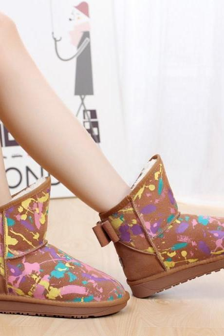 Colourful Splash Print Flat Short Boots