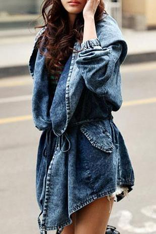 Loose Fit Oversized Hood Belted Washed Denim Jacket Coat