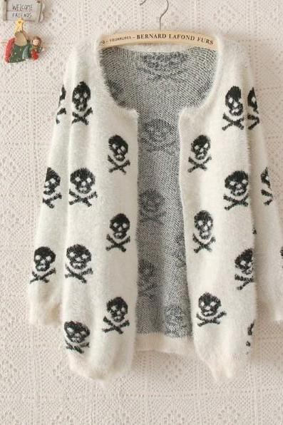 skeleton cardigan sweaters women mohair coat top fashion clothing
