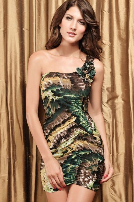 shoulder sleeveless oblique fashion feather pattern Slim Dress Art