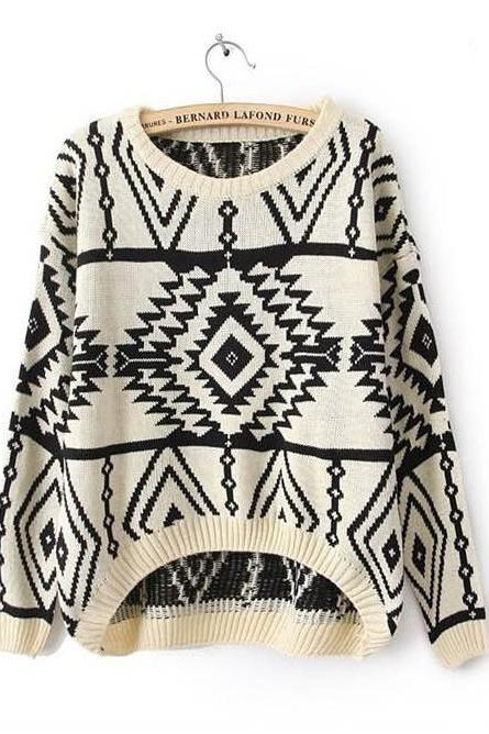 Geometric diamond pattern loose long-sleeved knit sweater #YS091803YH