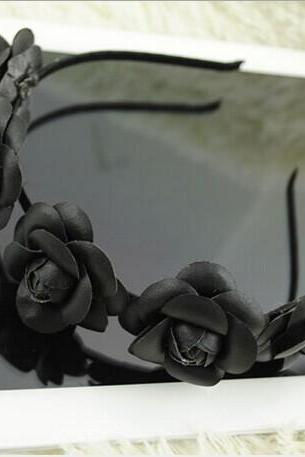Manual black flower hairpin headdress flower