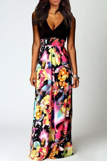Sexy Floral Print V Neck Sleeveless Dress for Woman